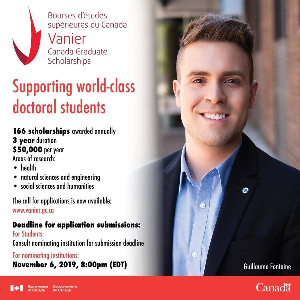 Canada Graduate Scholarships for Masters leading to PhD -2019