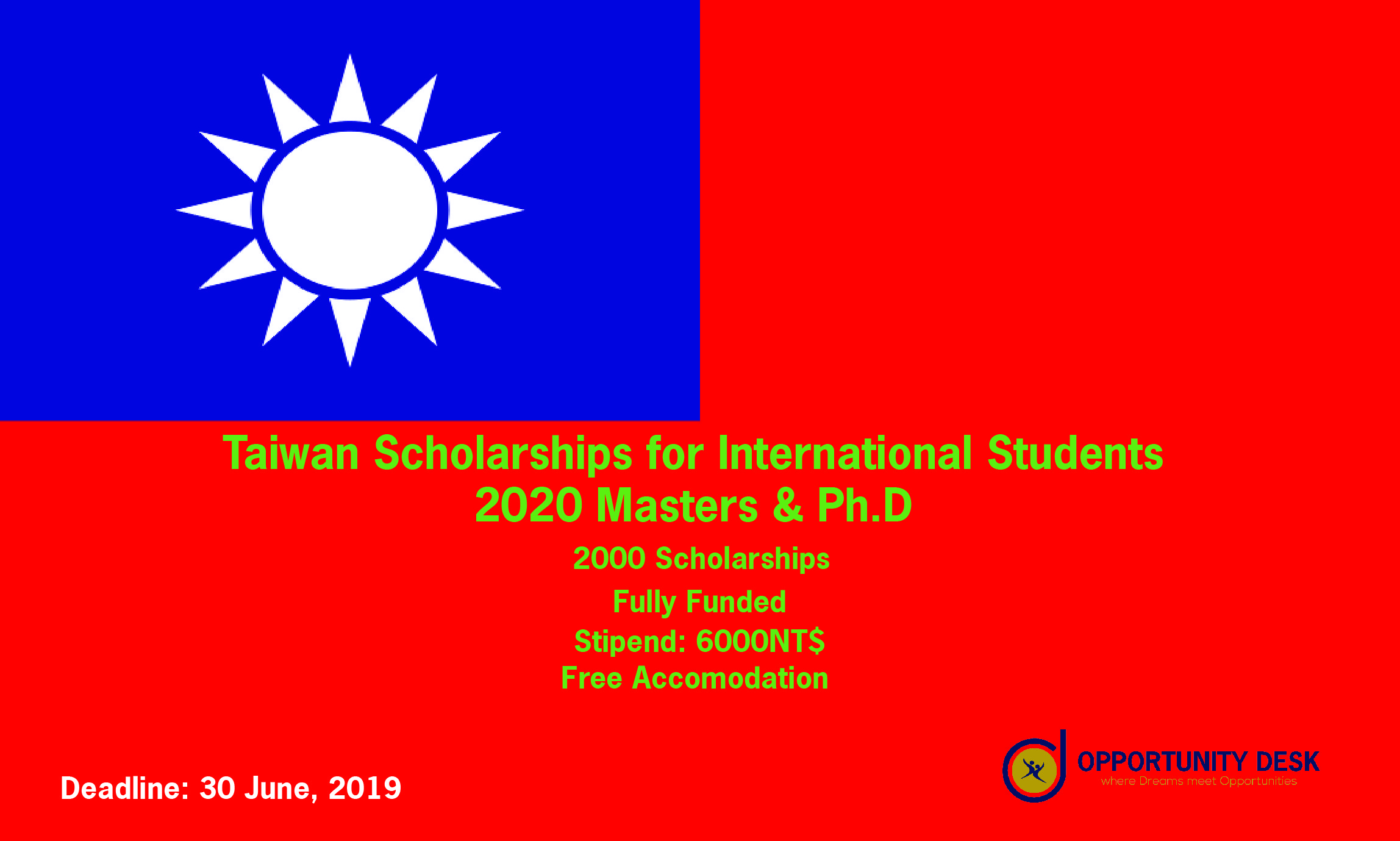 Taiwan Scholarship 2020 Spring For International Students [Fully Funded]