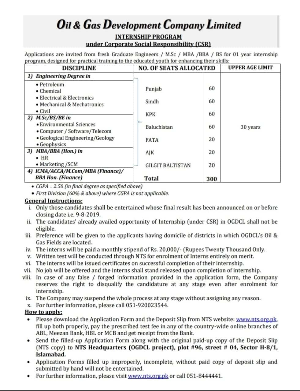 OGDCL Internship 2019 for One Year – Monthly Stipend of Rs
