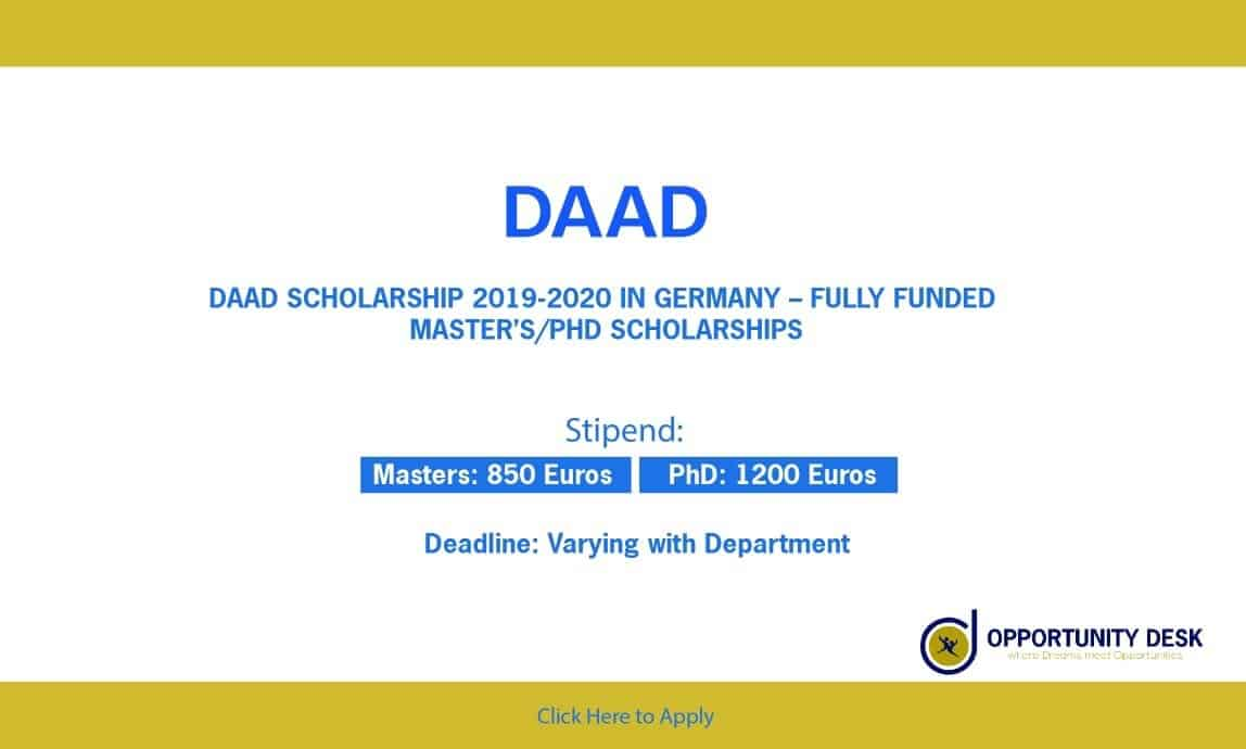 DAAD Scholarship in Germany For Masters & Ph D 2019-20